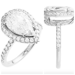 NEW NADRI Prong Set Pear Cut CZ & Pave Halo Ring